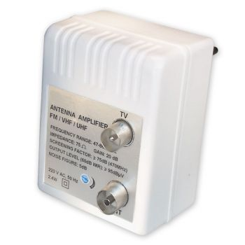 Antennen Verstärker für Kabel TV + DVBT + Verstärkung: 20 dB regelbar: 0-10 dB Verstärker