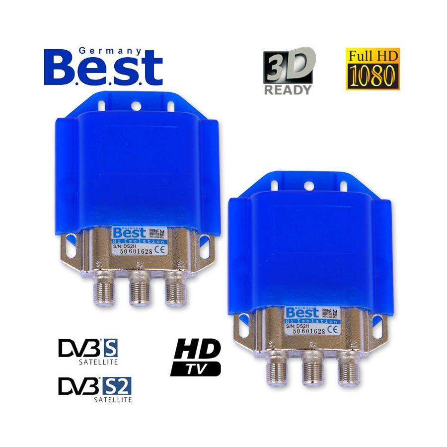 2 x best diseqc digital full hd schalter 2x1 2 1 b e s t hdtv switch 3d. Black Bedroom Furniture Sets. Home Design Ideas