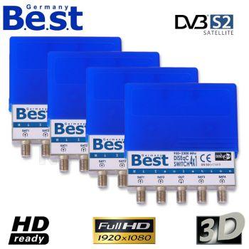4x Best Germany 4/1 DiSEqC Schalter DiSEqC Umschalter 4 Sat HDTV 3D