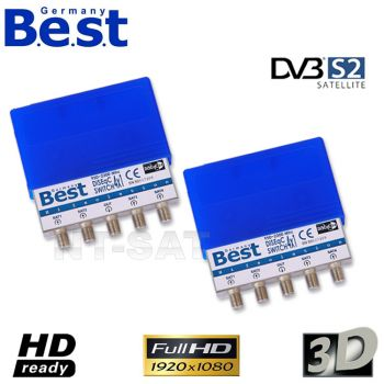 2 x Best Germany 4/1 DiSEqC Schalter Umschalter 4 Sat HDTV 3D