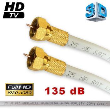 15 m Sat Anschlusskabel vergoldet F-Stecker Kabel FullHD HDTV Sat kabel 135 dB 3D