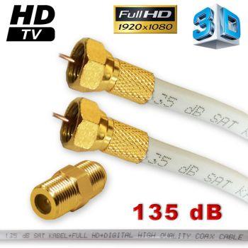 12m Sat Kabel HD Verlängerungskabel 135 dB Vergoldet F-Stecker plus F-Verbinder