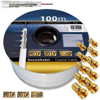100 m Satkabel 120 dB Sat digital Antennenkabel Koaxialkabel Kabel HD 3D Klasse A