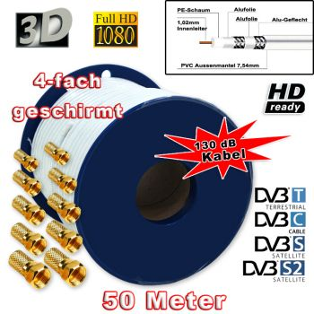 ! Sat Kabel 50m DIGITAL 130dB Koaxial HD+ sky 3D