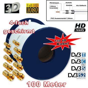 ! Sat Kabel 100m, Koaxialkabel 130 dB Weiß 7,2 mm