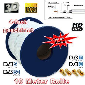 ! SAT Kabel 10m 130dB Koaxial Antennen Kabel Digital FULL HDTV 3D HD