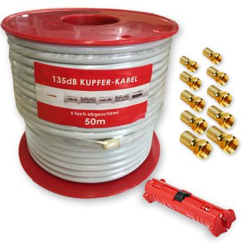 135dB Reines Kupfer 50m Sat Digital Koaxial Antennen Kabel HDTV 3D Abisolierer