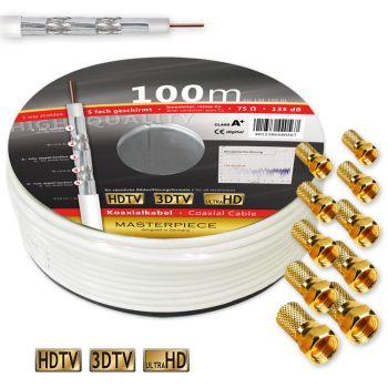100m 135dB Sat Kabel KUPFER 5-fach geschirmt Klasse A+ Antennen Kabel Ultra HD 3D