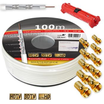 100m 135dB Sat Kabel KUPFER 5-fach geschirmt Klasse A+ 3DTV + Abisolierer