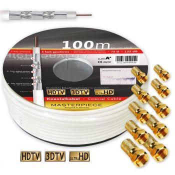 100m 135dB 5-fach geschirmt Klasse A+ 135 dB Koaxialkabel SAT DIGITAL Antennen KABEL FULL HD