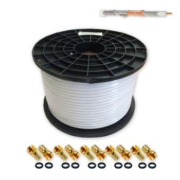 100m Sat Koax Kabel 120dB 100 % Vollkupfer reines Kupfer A++ Koaxial Antennenkabel