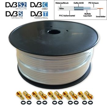 100m Koaxial Vollkupfer Sat Kabel Full HD TV 3D 4K DIGITAL reines Kupfer + 10 F-Stecker