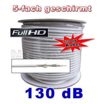 !Sat Kabel 50m Koaxialkabel 130dB 5-fach geschirmt # HDTV