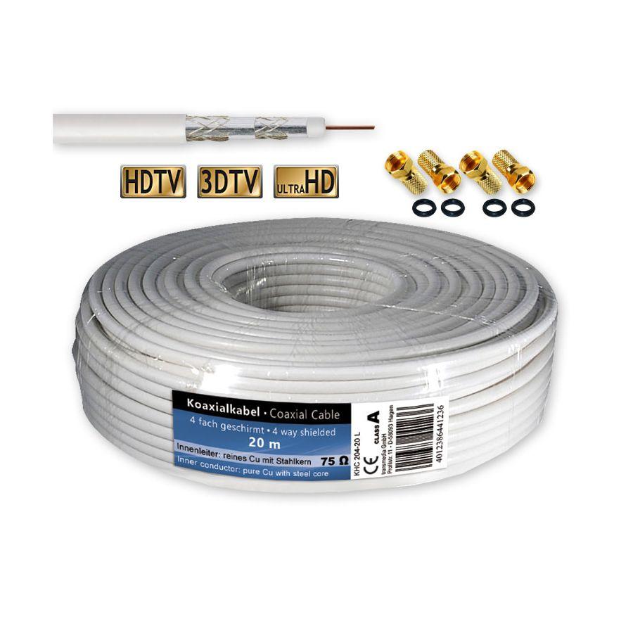 20 m sat kabel koaxialkabel 120 db antennenkabel 4 fach geschirmt 4 f stecker. Black Bedroom Furniture Sets. Home Design Ideas