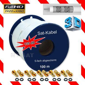 100m 135dB 5 Fach Sat Kabel Digital Antennenkabel Stahl Kupfer Koaxialkabel Full HD 3D