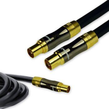 10 m PremiumX Gold-Line TV Antennenkabel Schwarz 135dB REINES KUPFER 1x TV Buchse weiblich + 1x TV Stecker männlich