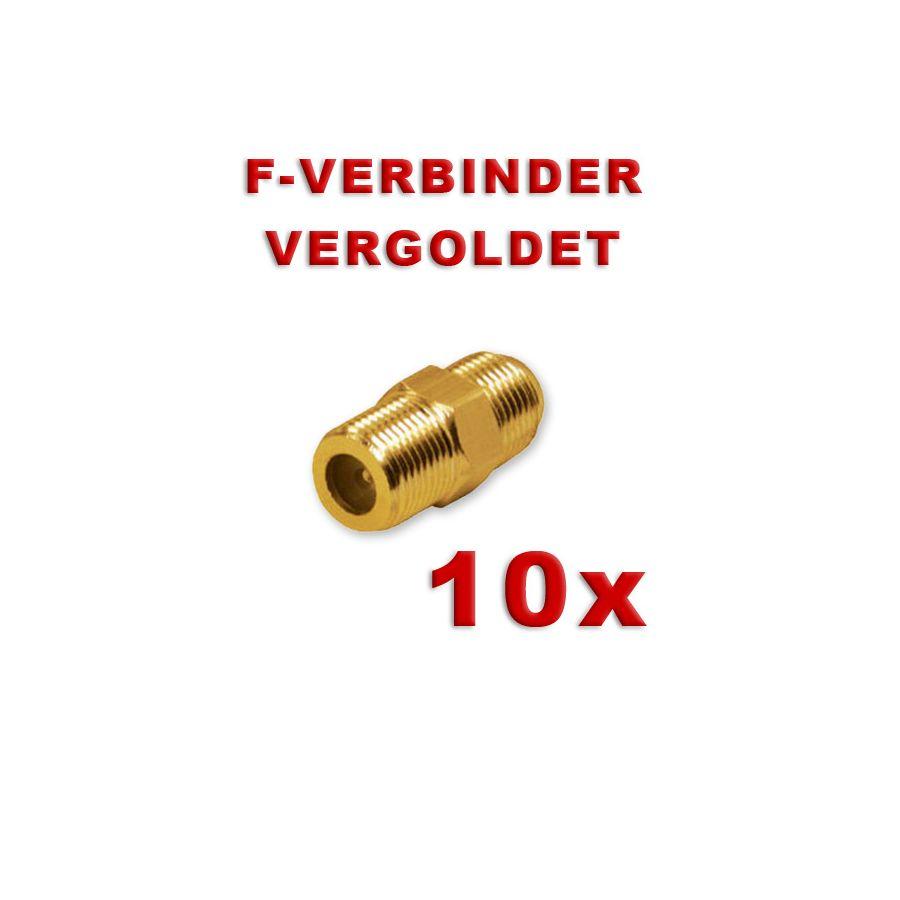 10x f verbinder stecker koaxial kabel f buchse auf buchse f doppelbuchse vergoldet kupplung sat. Black Bedroom Furniture Sets. Home Design Ideas