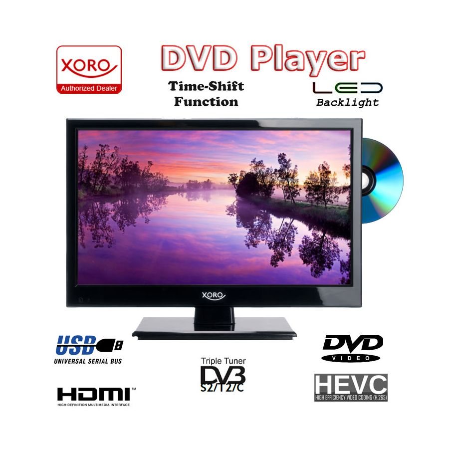 camping tv 15 6 zoll 40 cm dvb t2 xoro 1546 hd ledtv dvd. Black Bedroom Furniture Sets. Home Design Ideas