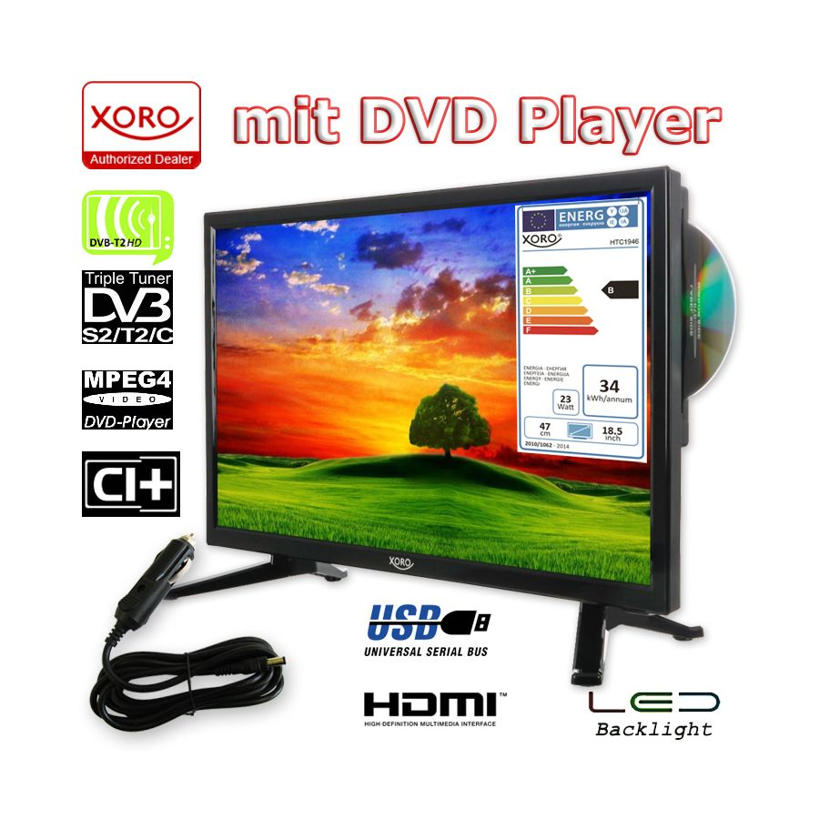 camping tv 18 5 zoll fernseher hd ledtv mit dvd hd triple tuner dvb s2 t2 c. Black Bedroom Furniture Sets. Home Design Ideas