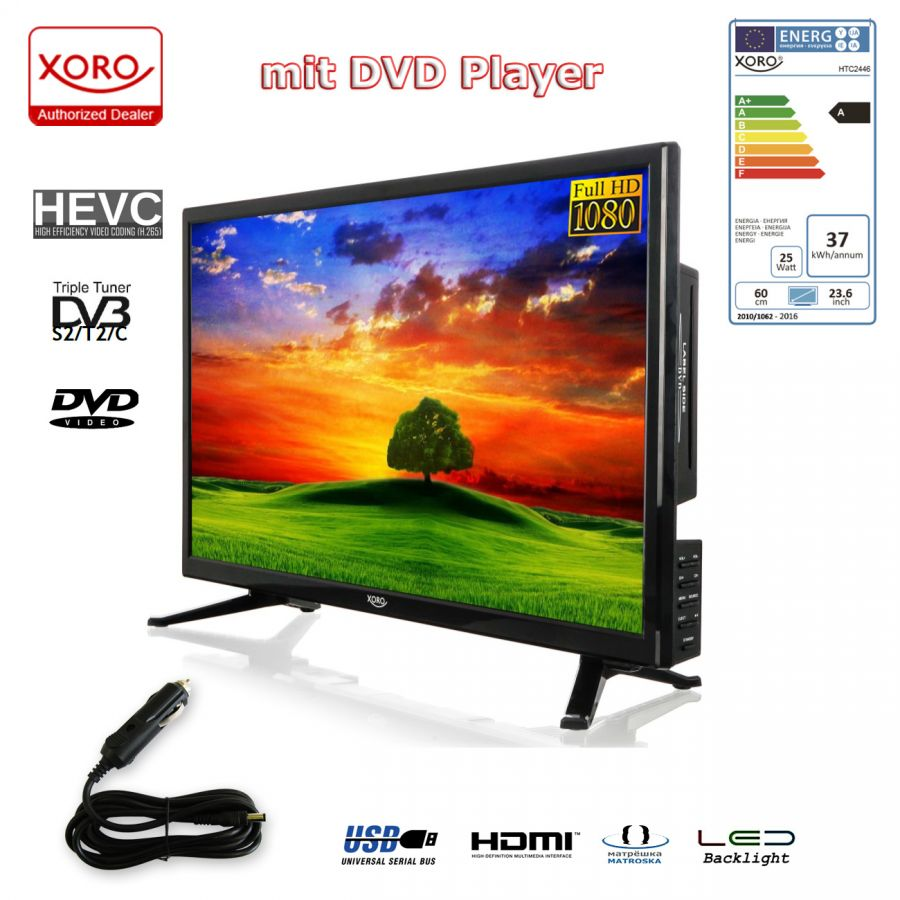 xoro htc 2446 led fernseher mit integriertem dvd player hd triple tuner. Black Bedroom Furniture Sets. Home Design Ideas