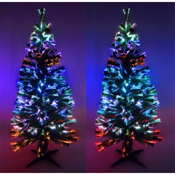 k nstlicher weihnachtsbaum 150cm led glasfaser 5 farben. Black Bedroom Furniture Sets. Home Design Ideas