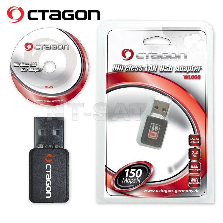 OCTAGON WL008 Wireless LAN USB 2.0 Adapter 150 Mbit/s (WiFi, W-LAN Stick) 802.11b/g/n