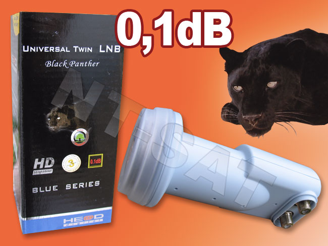 Head Universal Twin LNB 0.1 dB Black Panther