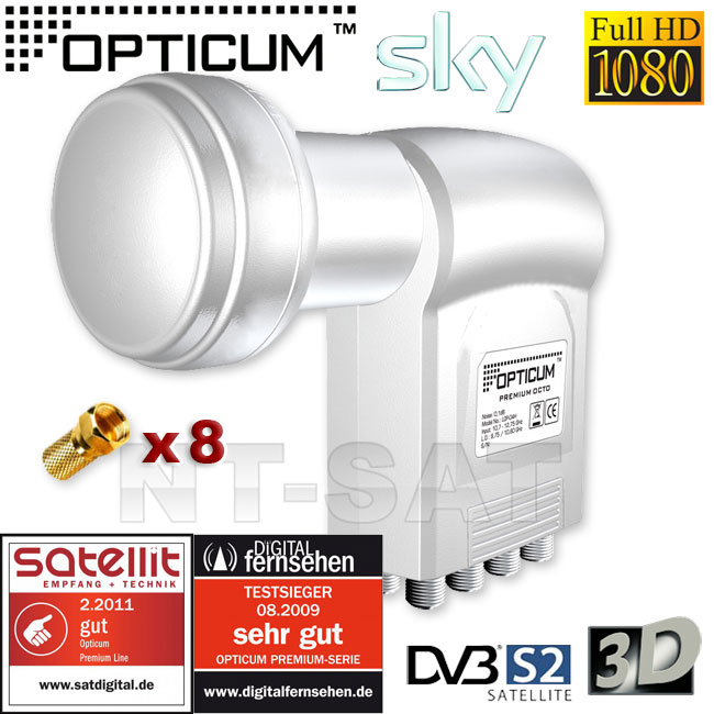 LNB OCTO 0,1dB DIGITAL Opticum HDTV Full HD 3D + 8 vergoldete F-Stecker