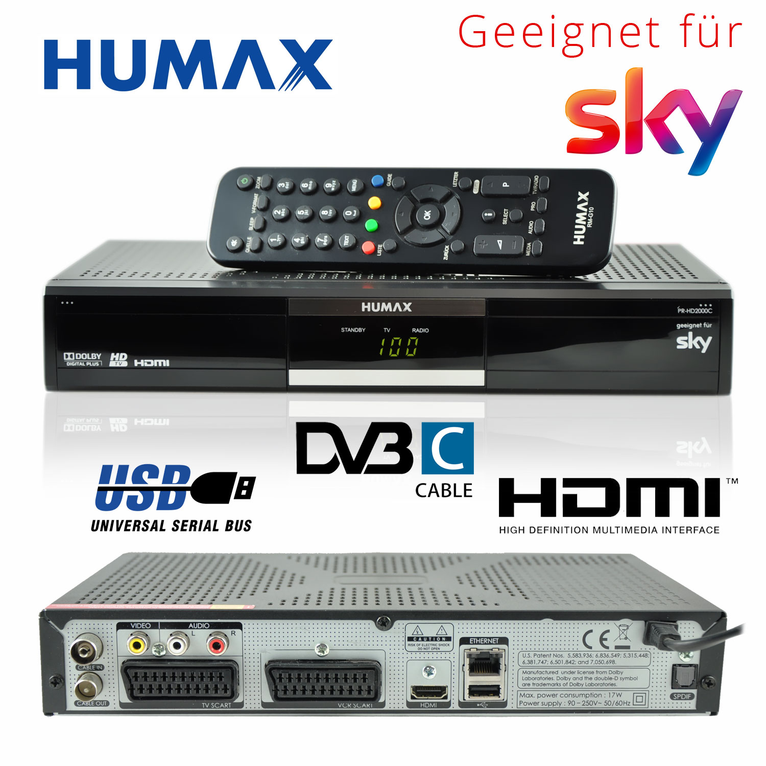 kabel receiver humax pr hd2000c digital kabelreceiver dvb c hdmi sky hd kabel ebay. Black Bedroom Furniture Sets. Home Design Ideas