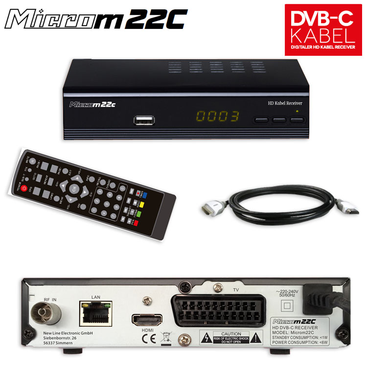 hd kabel receiver micro m 22c usb lan hdmi scart epg dvb c. Black Bedroom Furniture Sets. Home Design Ideas