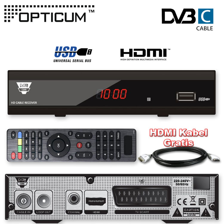 hdtv kabel receiver hd kabel receiver opticum c200 usb tv dvb c cabel hdmi kabel. Black Bedroom Furniture Sets. Home Design Ideas