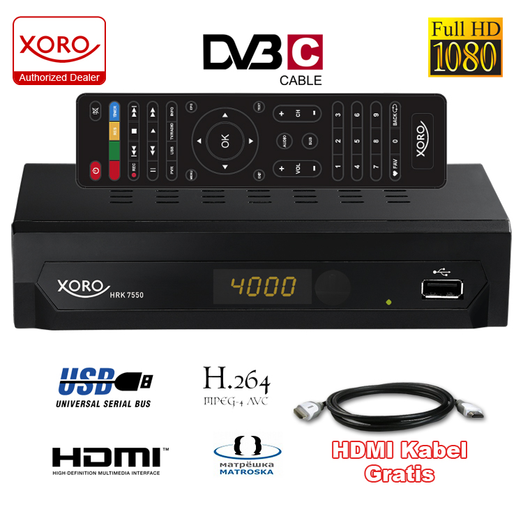 hd dvb c receiver xoro hrk 7550 mit usb hd media player hdmi 1080p. Black Bedroom Furniture Sets. Home Design Ideas