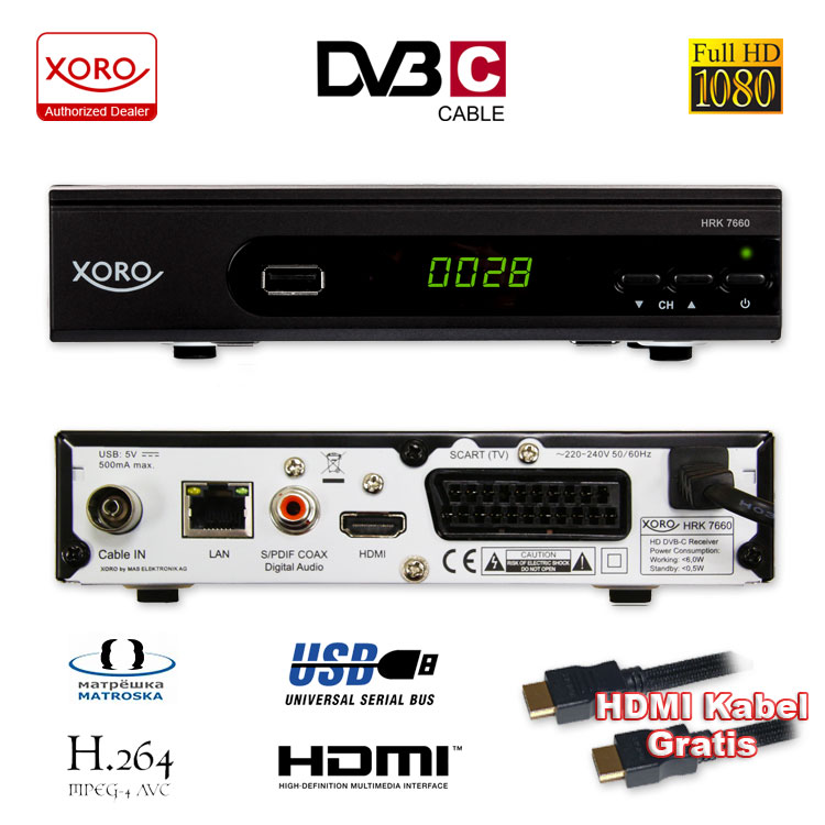 xoro hd kabel receiver xoro digital hrk 7660 dvb c usb tv aufnahme pvr mediaplayer sat germany. Black Bedroom Furniture Sets. Home Design Ideas