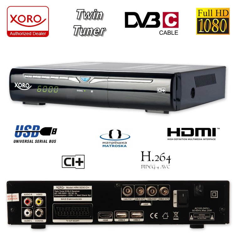 xoro hrk 9200 ci hdtv digital kabel receiver hdtv dvb c. Black Bedroom Furniture Sets. Home Design Ideas