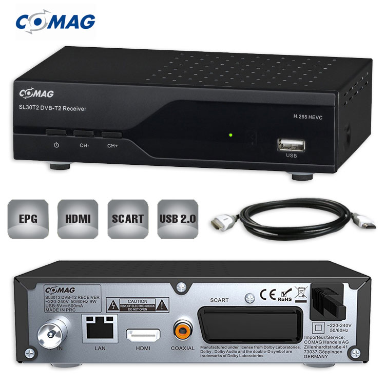 dvb t 2 hd receiver comag sl30t2 hevc usb hdtv dvb t 2. Black Bedroom Furniture Sets. Home Design Ideas