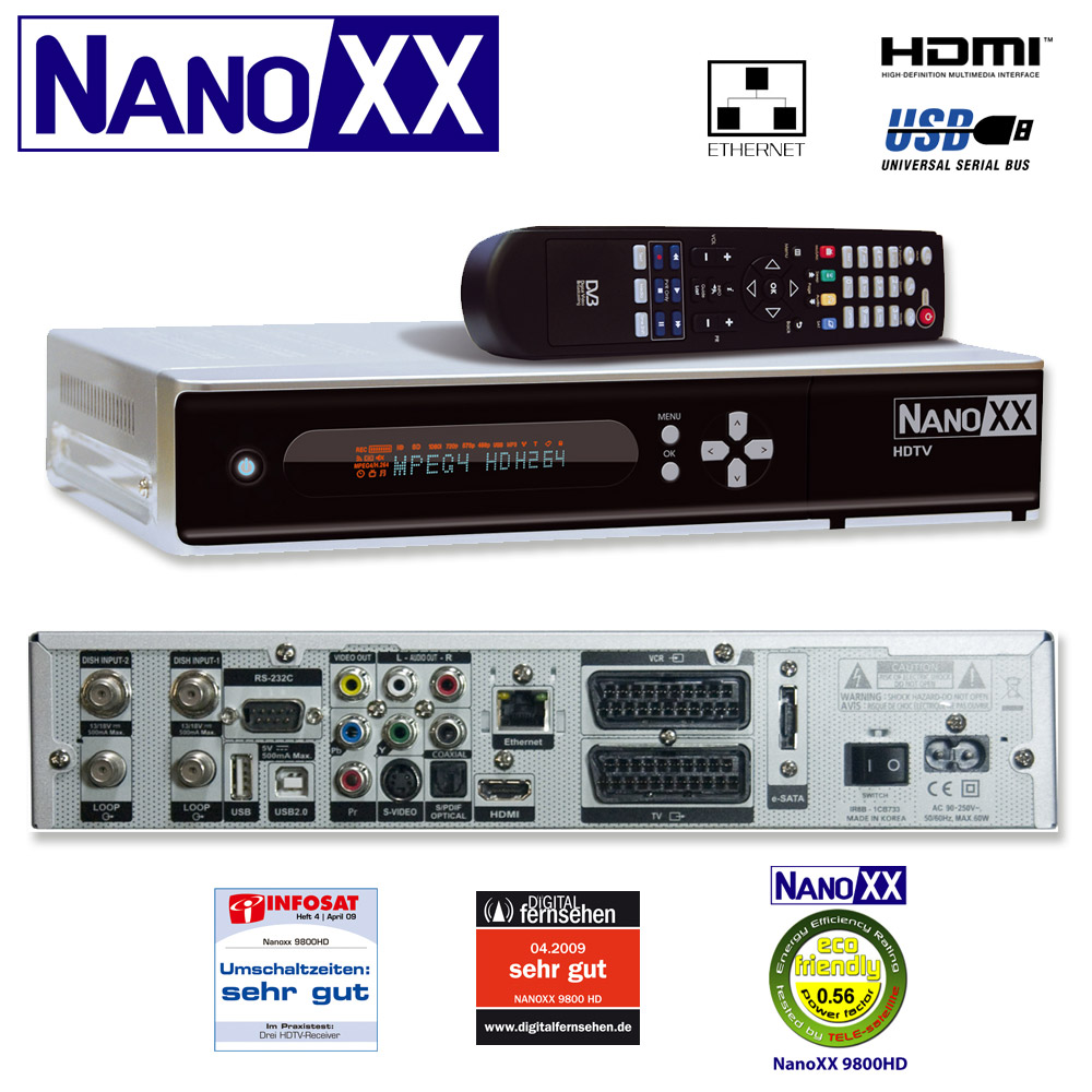 sat reciever nanoxx 9800hd hdtv receiver f r den satelliten empfang. Black Bedroom Furniture Sets. Home Design Ideas