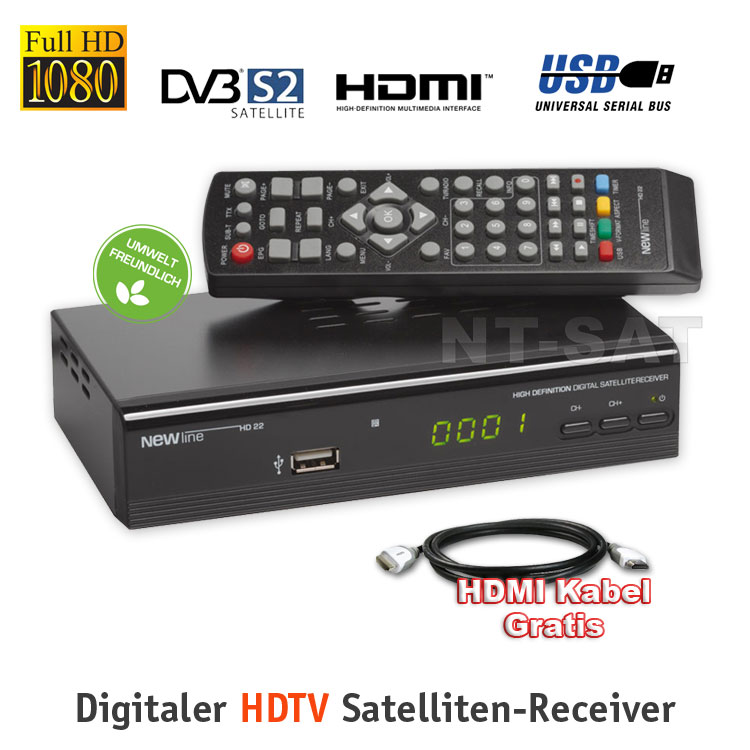 Silver HD SAT-Receiver FULL HD mit Mediaplayer NEWline HD22 HDTVSL 35