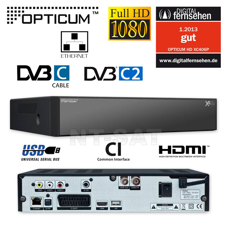 g dvb c cable receiver opticum hd xc406p digital usb full. Black Bedroom Furniture Sets. Home Design Ideas