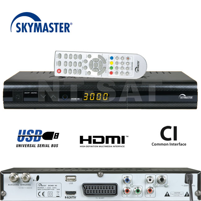 skymaster dchd 95 digitaler hdtv sat receiver ci slot usb. Black Bedroom Furniture Sets. Home Design Ideas