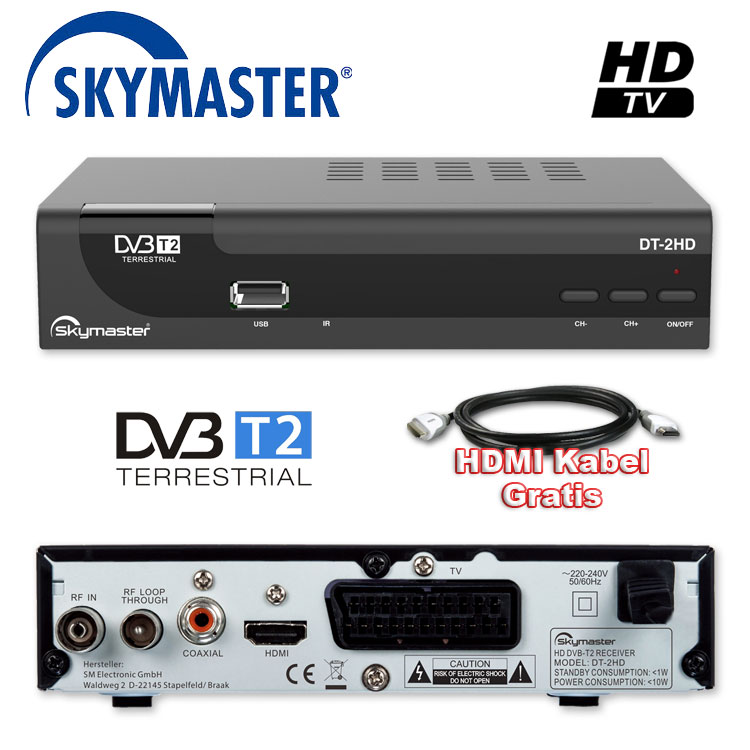 hd dvb t2 receiver skymaster hevc usb hdtv lan dvb t 2 pvr antenne hdmi kabel. Black Bedroom Furniture Sets. Home Design Ideas