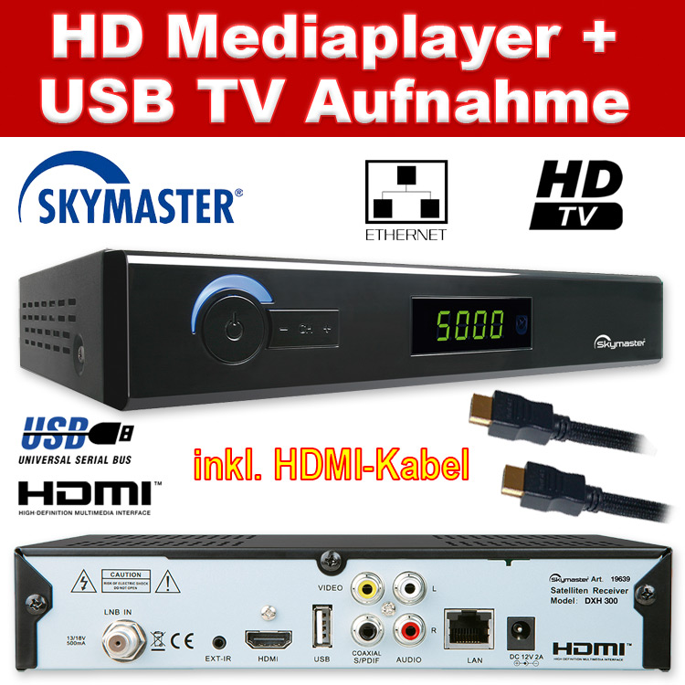 hdtv satelliten receiver skymaster dxh 290 300 web radio mediaplayer hdmi usb ebay. Black Bedroom Furniture Sets. Home Design Ideas