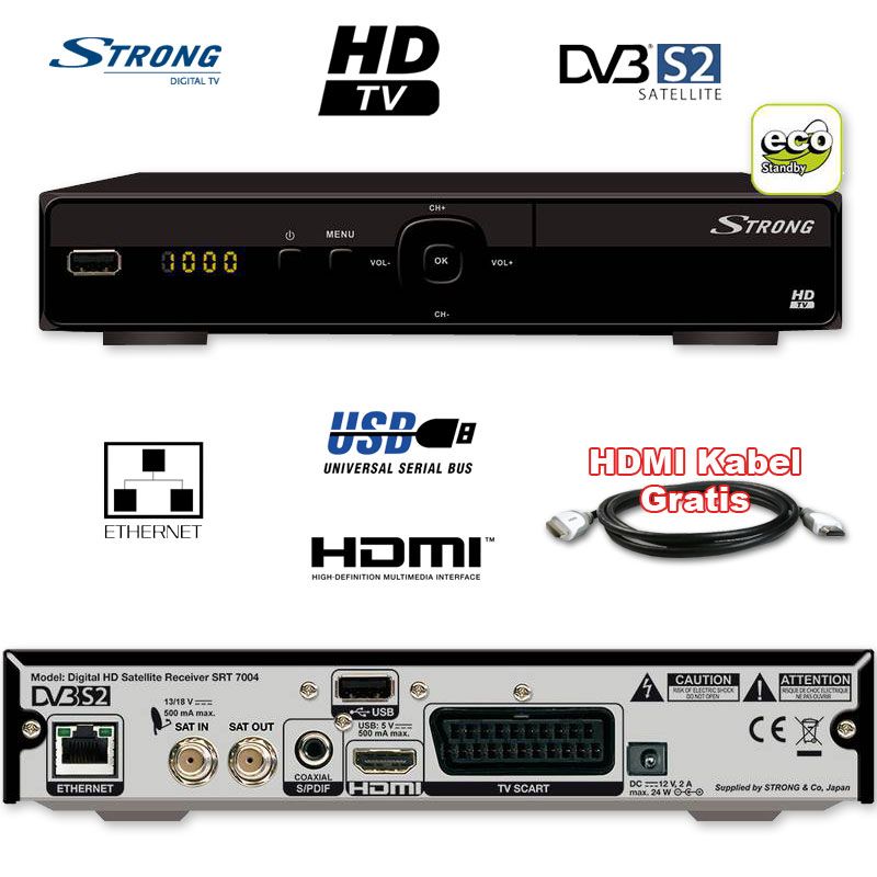 ghd sat receiver hdtv satelliten receiver strong srt 7004 hd fullhd hdmi usb lan ebay. Black Bedroom Furniture Sets. Home Design Ideas