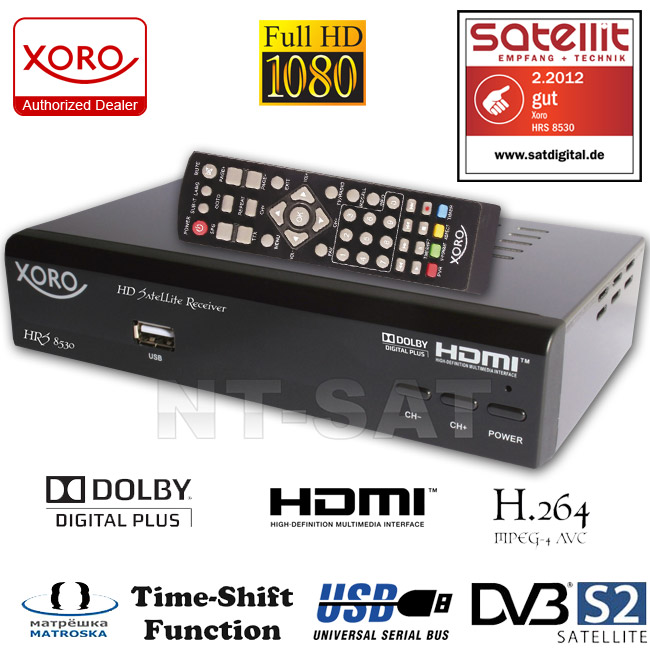 Digital HD DVB-S2 Receiver XORO HRS 8530