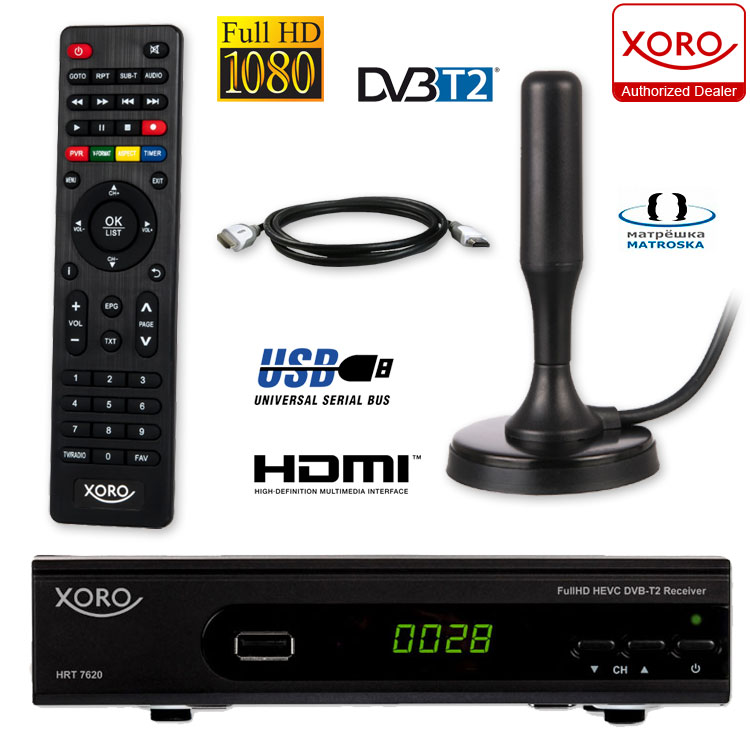 hd dvb t2 receiver dvb t2 antenna set xoro hrt 7620 hevc usb pvr. Black Bedroom Furniture Sets. Home Design Ideas