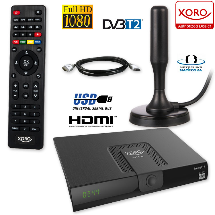 hd dvb t2 receiver xoro hrt 8719 hevc usb dvb t2 antenne. Black Bedroom Furniture Sets. Home Design Ideas