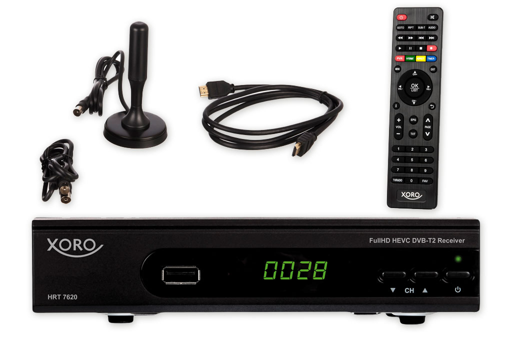 xoro 7620 kit dvbt t2 receiver hdtv scart mediaplayer. Black Bedroom Furniture Sets. Home Design Ideas