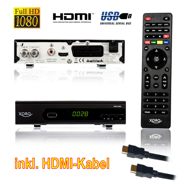 Sat Receiver HD Xoro 8560 HDTV USB FullHD HRS 8530/8540 Unicable Mediaplayer