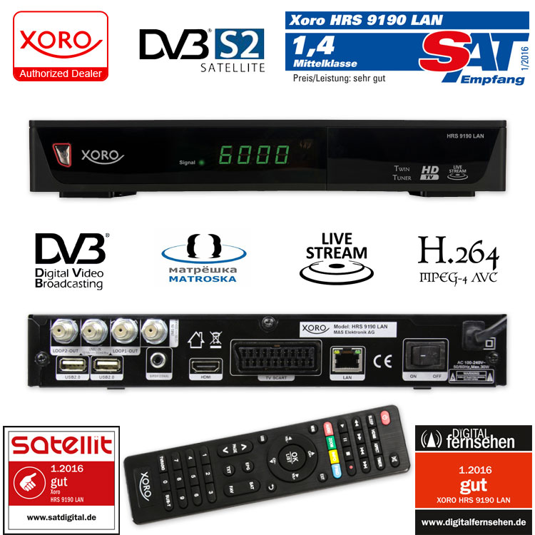 twin sat receiver xoro hrs 9190 lan with livetv streaming full hd 2 usb hdmi usb. Black Bedroom Furniture Sets. Home Design Ideas