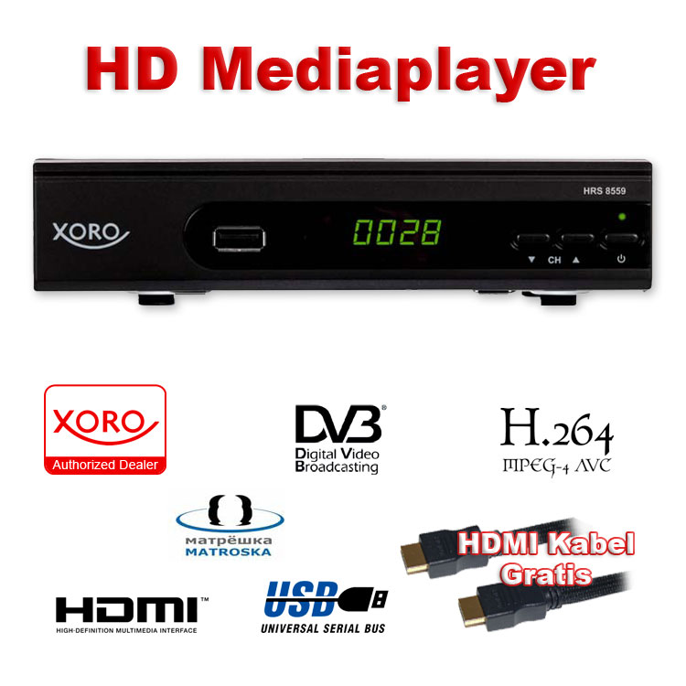 Xoro HRS 8559 HD Satellitenreceiver (DVB‐S2) mit USB‐Rekorder & Media Player