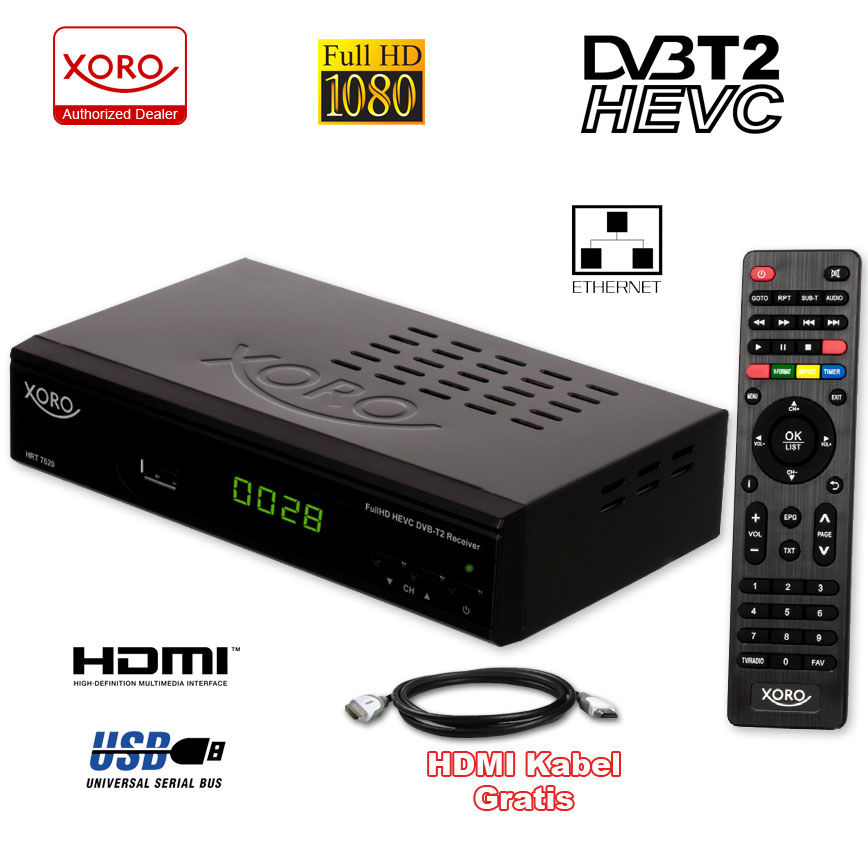 dvb t2 terrestre hd tv r cepteur hevc xoro hrt 7619 usb lan hdmi ebay. Black Bedroom Furniture Sets. Home Design Ideas